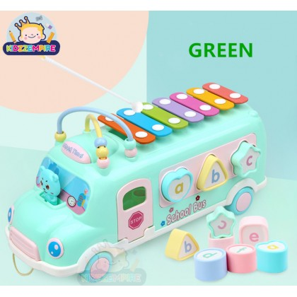 Kidzzempire Kids Toys School Bus Multicolour Xylophone Musical Instrument Alphabet Shapes Blocks Puzzle Early Learning Educational Toys TOY025