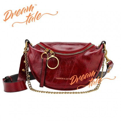 Dreamtale Women Handbag Circle Zip Quilted Chain Saddle Bag Sling Bag Handbeg WFS299