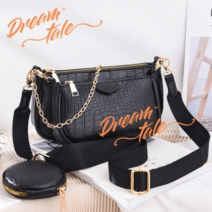 Dreamtale Women Handbag Magaz 3 in 1 Crocodile Print Chain Sling Bag Handbeg WFS300