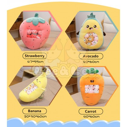 Fruits Plush Toy Carrot Avocado Strawberry Banana Snack Pillow with Inner Cushion Doll Plush Toy Pillow Soft Toy HAL095
