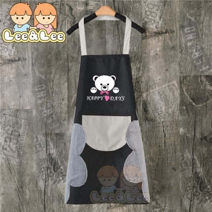 Cute Bear Kitchen Apron Double Sided Wiping Cloth with Large Size Pocket Waterproof Oil Proof Household Cooking Apron HAL107