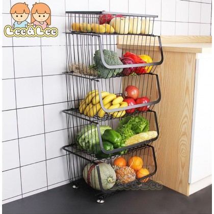 Kitchen Rack Trolley Storage Rack Spice Rack Steel Fruit Storage Holder Vegetable Rack with Wheels Movable Kitchen Rack Organizer HAL108
