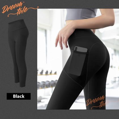 Dreamtale Women Clothing High Waist Side Pocket Yoga Legging Sports Wear for Woman Yoga Pants Workout Running Sports Leggings Cycling Fitness Trousers Ladies Sports Pants WCO011