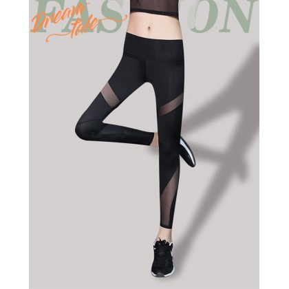 Dreamtale Women Clothing Contrast Mesh Yoga Legging Fitness Ladies Yoga Pants Sports Running Workout Pants Dry Fit Leggings Tight Stretchy Long Pants Sportswear WCO013