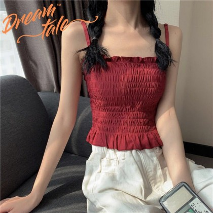 Dreamtale Women Fashion Ruffles Sleeveless Tank Top Removable Padded Camisole Strapless Tube Top Women Summer Casual Top WCO016