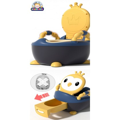 Kidzzempire Penguin Crown Kids Toilet Training Potty and Seat Foldable with Handle Large Size BAB066