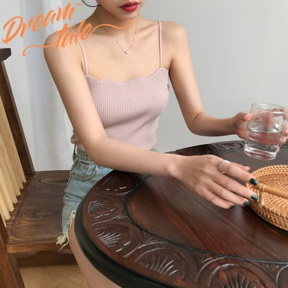 Dreamtale Women Fashion Wavy Knitted Singlet Solid Colour Sleeveless Tanks Top Ladies Camisole Knitted Top WCO021
