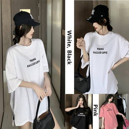 Dreamtale Women Fashion THING LOVE Oversized T-shirt Cotton Graphic Printed Ladies Round Neck Casual Short Sleeve Loose T-shirt WCO023