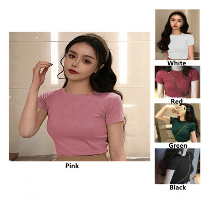 Dreamtale Women Fashion Solid Colour Short Sleeve T-shirt Tight Fit Round Neck Casual T-shirt Basic Wear Women Top WCO024
