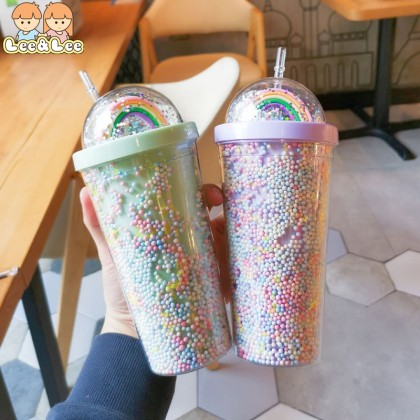 Rainbow Star Cold Cup Tumbler Double Layer Plastic Coffee Mug Tumbler with Straw Water Bottle Reusable 550ml HAL139
