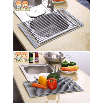 Multipurpose Foldable Silicone Dish Drainer Mat Roll-Up Sink Dish Drying Rack Non-slip Washable Household HAL144