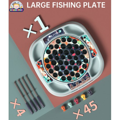 Kidzzempire Kids Toys 27/50 Pcs Fishing Game Board Playset Electric Fish Game with Music & Light Educational Toy Family Game TOY055