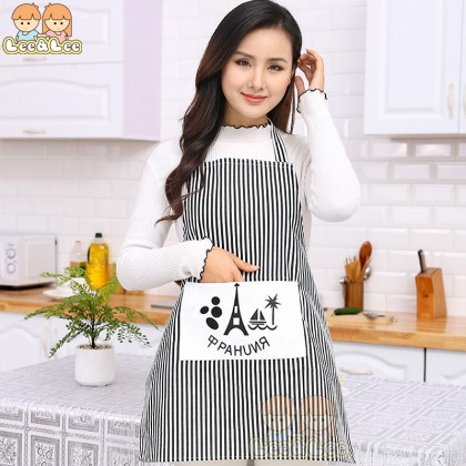 Graphic Printed Stripes Kitchen Apron with Large Size Pocket Cotton Household Cooking Apron HAL149