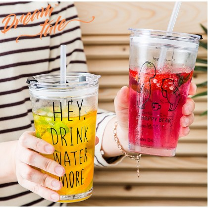 Dreamtale 450ml Juice Glass Bottle Transparent Glass Mug with Straw Coffee Cup HAL169