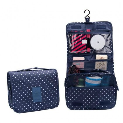 Korea Fashion Travel Hanging Cosmetic Toiletries Extra Large Pouch (Upgraded version) (Pockle Dot)