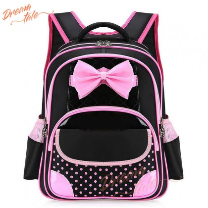 Dreamtale Kids Primary Backpack Big Bow Ribbon Polka Dot Backpack School Bag KID032