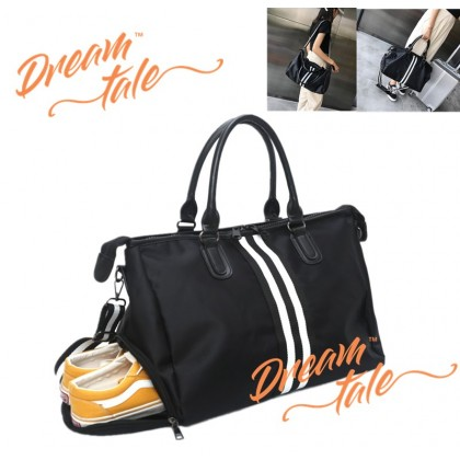 Dreamtale Travel Bag Double White Stripe Nylon Waterproof Extra Large Duffel Bag Gym Bag with Shoe Compartment TVL033